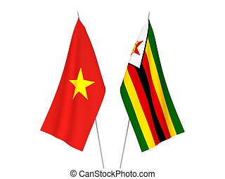 Vietnam and Zimbabwe flags - National fabric flags of ...