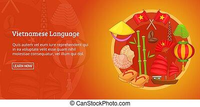 Vietnam banner horizontal, cartoon style - Vietnam banner...