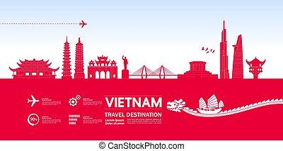 vietnam, bestimmungsort, illustration., reise, vektor, ...