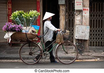 vietnam., blomningen, gatuförsäljare, hanoi, stad