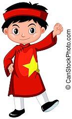 Vietnam boy in red costume