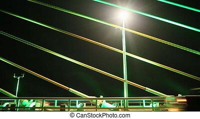 Vietnam. Bridge in Ha Long, Traffic at night.