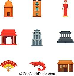 Vietnam building icon set, flat style