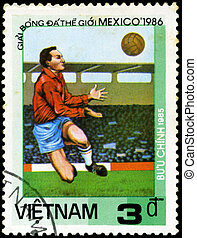 VIETNAM - CIRCA 1985: a stamp printed by VIETNAM shows football players. World football cup in Mexico 1986, circa 1985