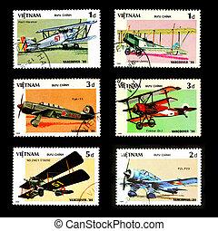 VIETNAM - CIRCA 1986: A stamp printed by VIETNAM shows military aircraft, Set 6, circa 1986