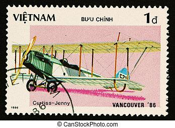 VIETNAM - CIRCA 1986: A stamp printed by VIETNAM shows military aircraft (Curtiss - Jenny ) Crca 1986