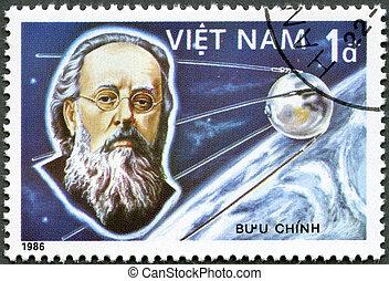 VIETNAM - CIRCA 1986: A stamp printed in the Vietnam shows Konstantin Tsiolkovsky, 1st Manned Space Flight, 25th Anniversary, circa 1986
