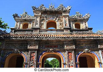 Vietnam Citadel Gate - Historic colorful city gate to...