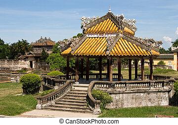 Historic architecture inside The Royal Citadel, Hue, Vietnam