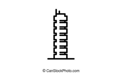 Vietnam city building icon animation outline best object on white background