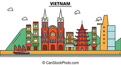 Vietnam, . City skyline architecture, buildings, streets, silhouette, landscape, panorama, landmarks. Editable strokes. Flat design line vector illustration concept. Isolated icons set