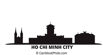 vietnam, ciudad, chi, aislado, ho, viaje, negro, contorno, minh, illustration., cityscape, vector