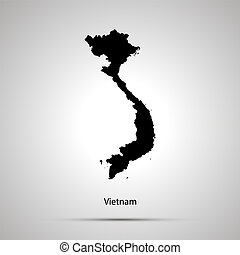 Vietnam country map, simple black silhouette on gray