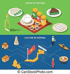 vietnam, cultura, turistico, isometrico, 2, bandiere