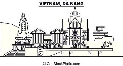 Vietnam, Da Nang line skyline vector illustration. Vietnam, Da Nang linear cityscape with famous landmarks, city sights, vector design landscape.
