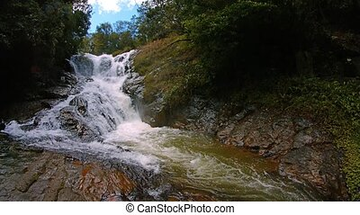 Vietnam, Datanla Waterfall. Shot with vertical panning 4k