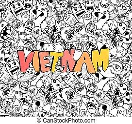 Vietnam doodle hipster background