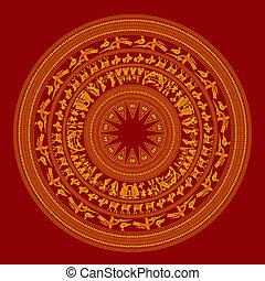 Vietnam famous vintage traditional design decorative art detail pattern symbol - Asian