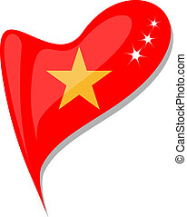 vietnam flag button heart shape. vector