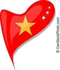 vietnam flag button heart shape. vector