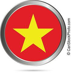 Vietnam flag button. The colors of the original.