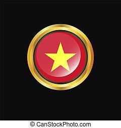 Vietnam flag Golden button