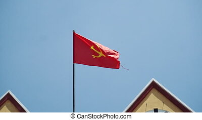 Vietnam flag in front of Dalat. Vietnam flag flying on a flag pole