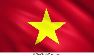 Vietnam flag moves in the wind