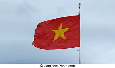 Vietnam flag on a flagpole against the sky