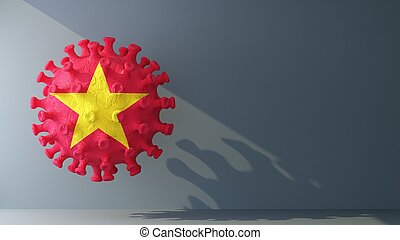 Vietnam flag on covid-19 virus with copy space