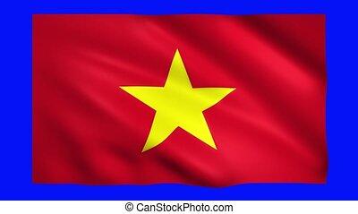 Vietnam flag on green screen for chroma key