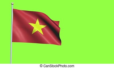 Vietnam Flag in 3D render with green screen background in Slow Motion
