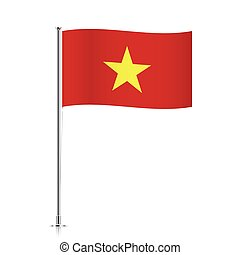 Vietnam flag waving on a metallic pole.
