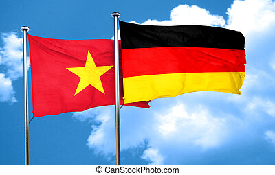 Vietnam flag with Germany flag, 3D rendering