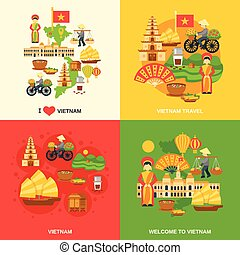 Vietnam Flat Set - Vietnam design concept set with asia ...