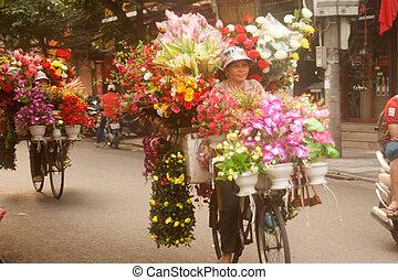 vietnam., flores, vendedor callejero, hanoi, ciudad