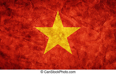 vietnam, grunge, flag., cikk, alapján, az enyém, szüret, retro, zászlók, gyűjtés