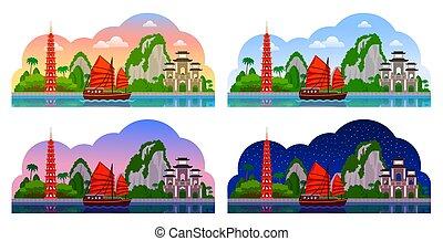 Vietnam. Horizontal panoramic view.