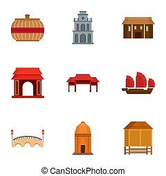 Vietnam icon set, flat style