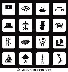 Vietnam icons set, simple style