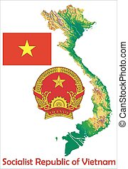 Vietnam map flag coat