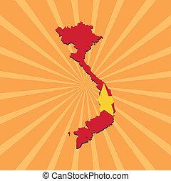 Vietnam map flag on sunburst