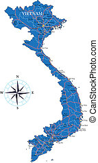 Vietnam map - Highly detailed vector map of Vietnam with ...