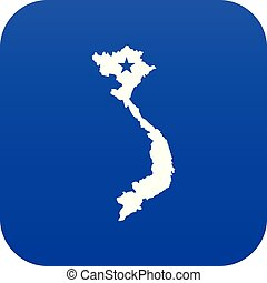 Vietnam map icon digital blue