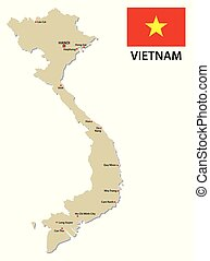 vietnam map with flag