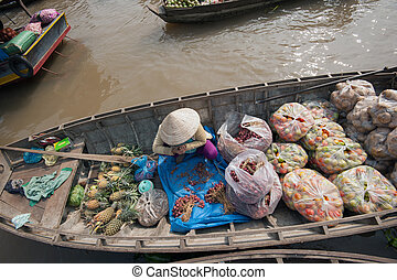 Vietnam, Mekong Delta floating market in Can Tho