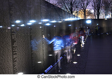 Vietnam Memorial Black Wall, Night Washington DC