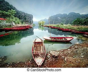 vietnam, ninh, vietnamita, binh, barcos, river.