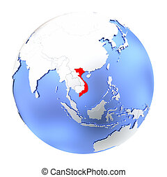 Vietnam on metallic globe isolated