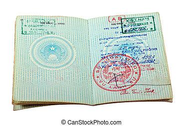 Vietnam passport. Pages for visa marks